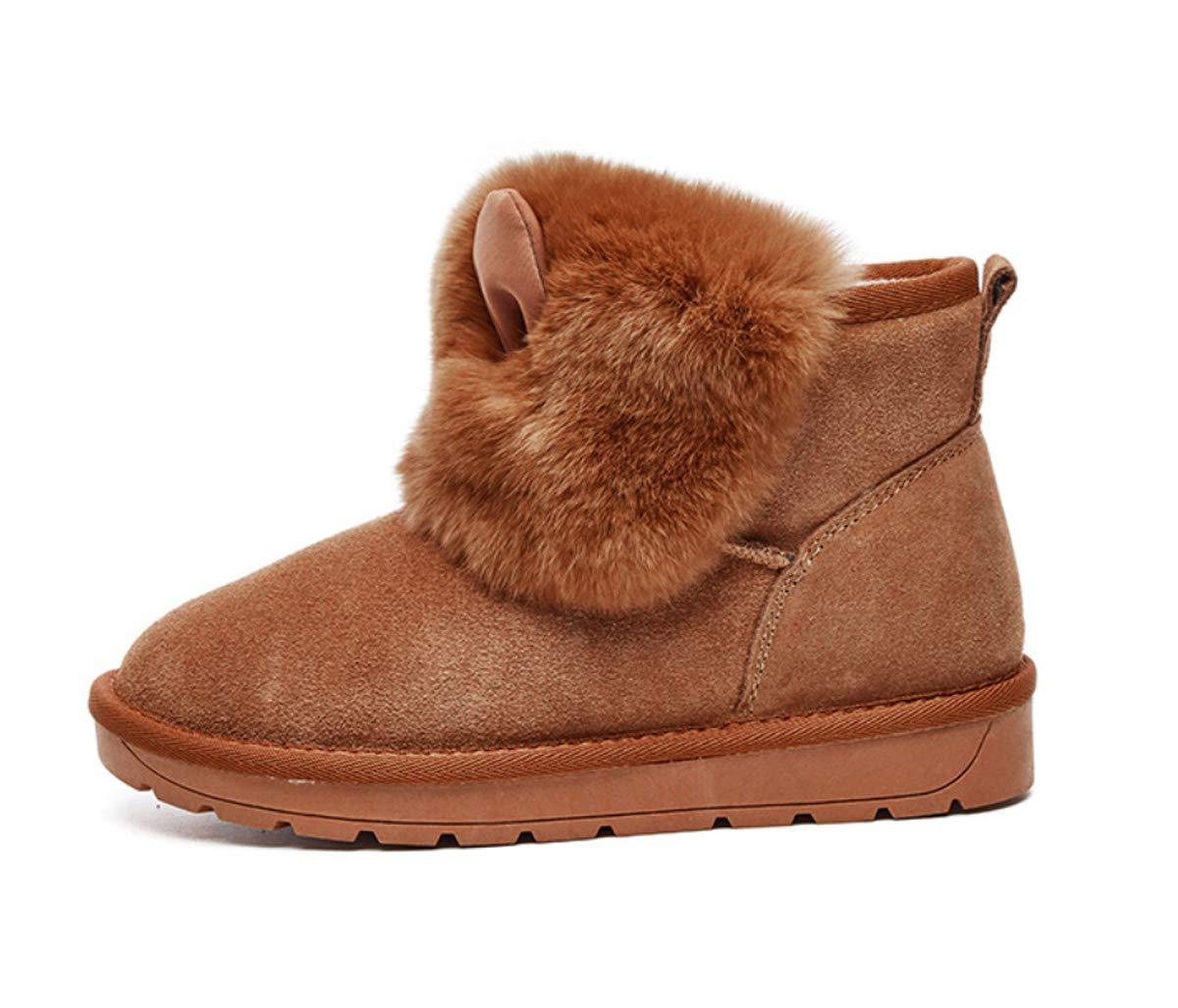 DANDANJIE Damenschuhe Winter Niedliche Schneeschuhe Flache Ferse Runde Runde Runde Zehe Cartoon Ankle Stiefelies 2f94c4