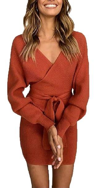 CBTLVSN Womens Fashion Wrap V Neck Long Sleeve Bodycon Pencil Knit Sweater  Dress 1 XS 5a6500526