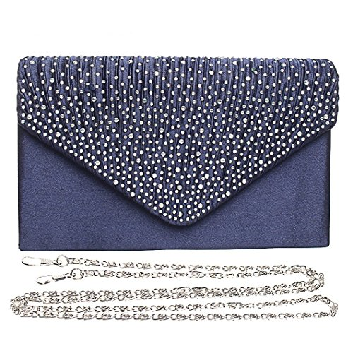 Ladies Envelope Handbags Purse Clutch Bridal Handbags Party Evening Blue Satin Prom Dark Bag Crossbody Asien Wedding Agdqg