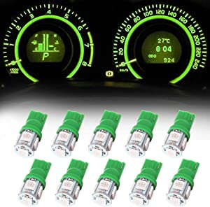 Frontl T10 LED Dash Light Bulbs Green 5-5050 SMD LED Bulbs 194 168 LED Light Bulbs Instrument Panel Gauge Cluster Indicator Lights,10Pack