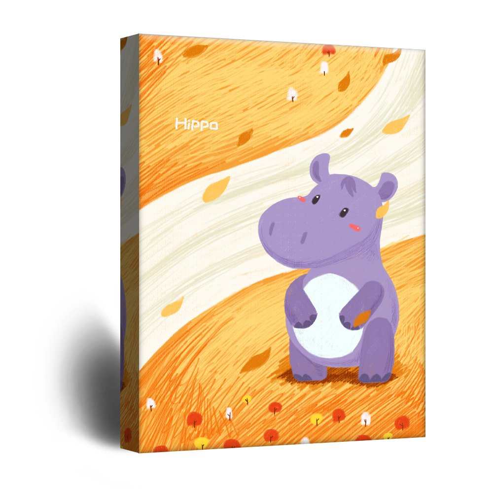 wall26 Cute Cartoon Animals Canvas Wall Art - A Purple Hippo on ...