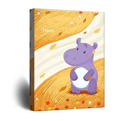 Amazon.com: wall26 Cute Cartoon Animals Canvas Wall Art - A Purple ...