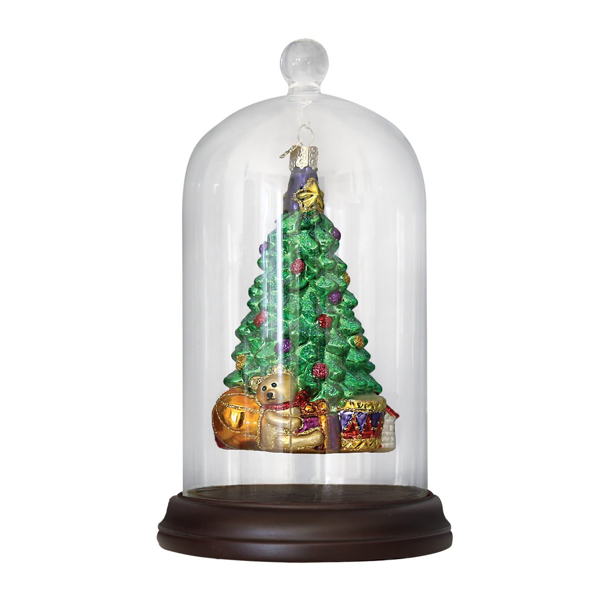 Old World Christmas Apothecary Inspired Glass Dome Ornament Cover - Wood Base