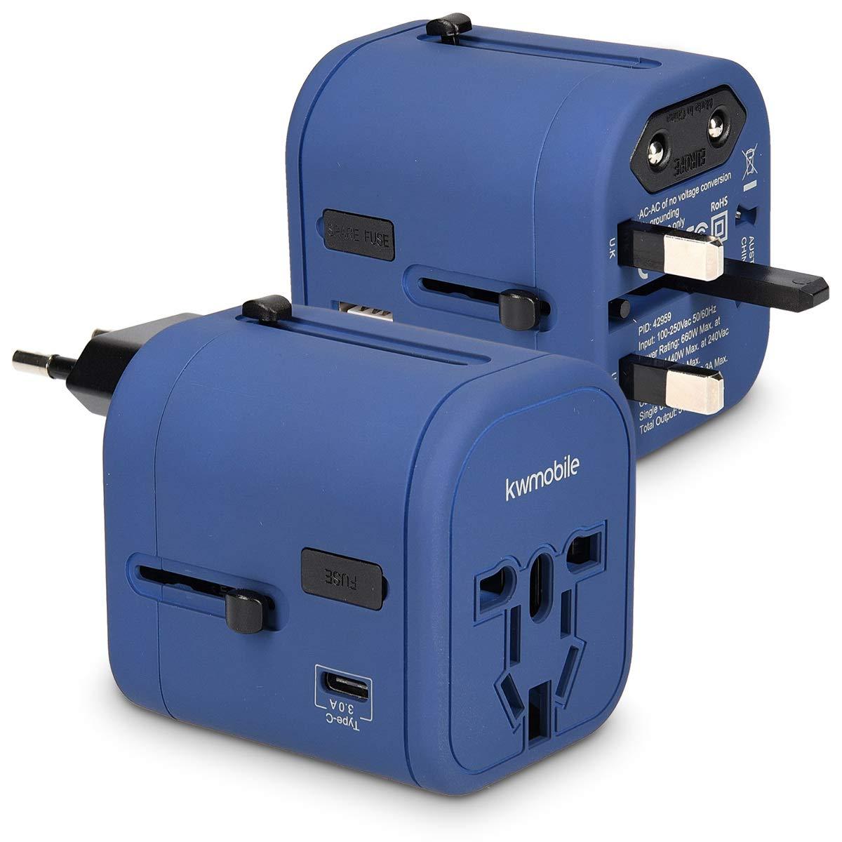 kwmobile Adaptateur Universel 150 Pays - Prise Universelle Voyage 4 Ports USB - Port 3A Type C - Prises électriques Prises de Courant - Bleu