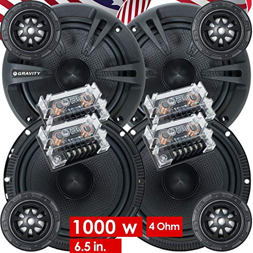 2 Pairs of Gravity 600C 6.5-Inch 2-Way Car Audio Component Speakers System 6-1/2 Inches (4 Bass, 4 Tweeters, 4 Crossovers) ()