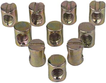 Waterwood 10pcs M6 Barrel Bolts Cross Dowel Slotted Furniture Nut for Beds Crib Chairs by Waterwood