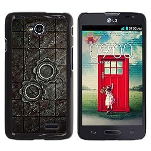 Be Good Phone Accessory // Dura Cáscara cubierta Protectora Caso Carcasa Funda de Protección para LG Optimus L70 / LS620 / D325 / MS323 // Metal Steampunk Wheel Sprocket