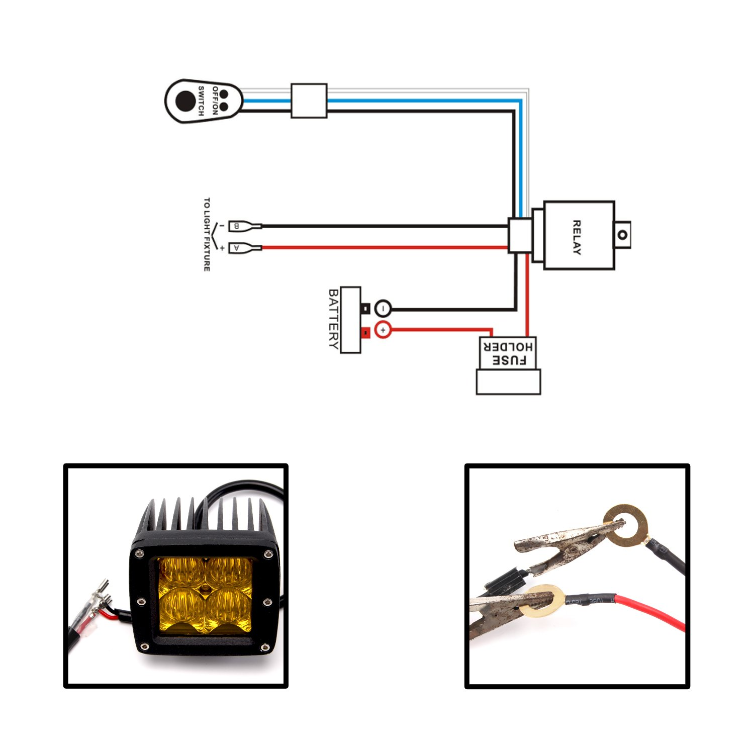 Senlips Led Light Bar Wiring Harness 10ft 12v 40a Indicator Kit Relay On Off Mouse Switch For Under 120w Offroad Driving