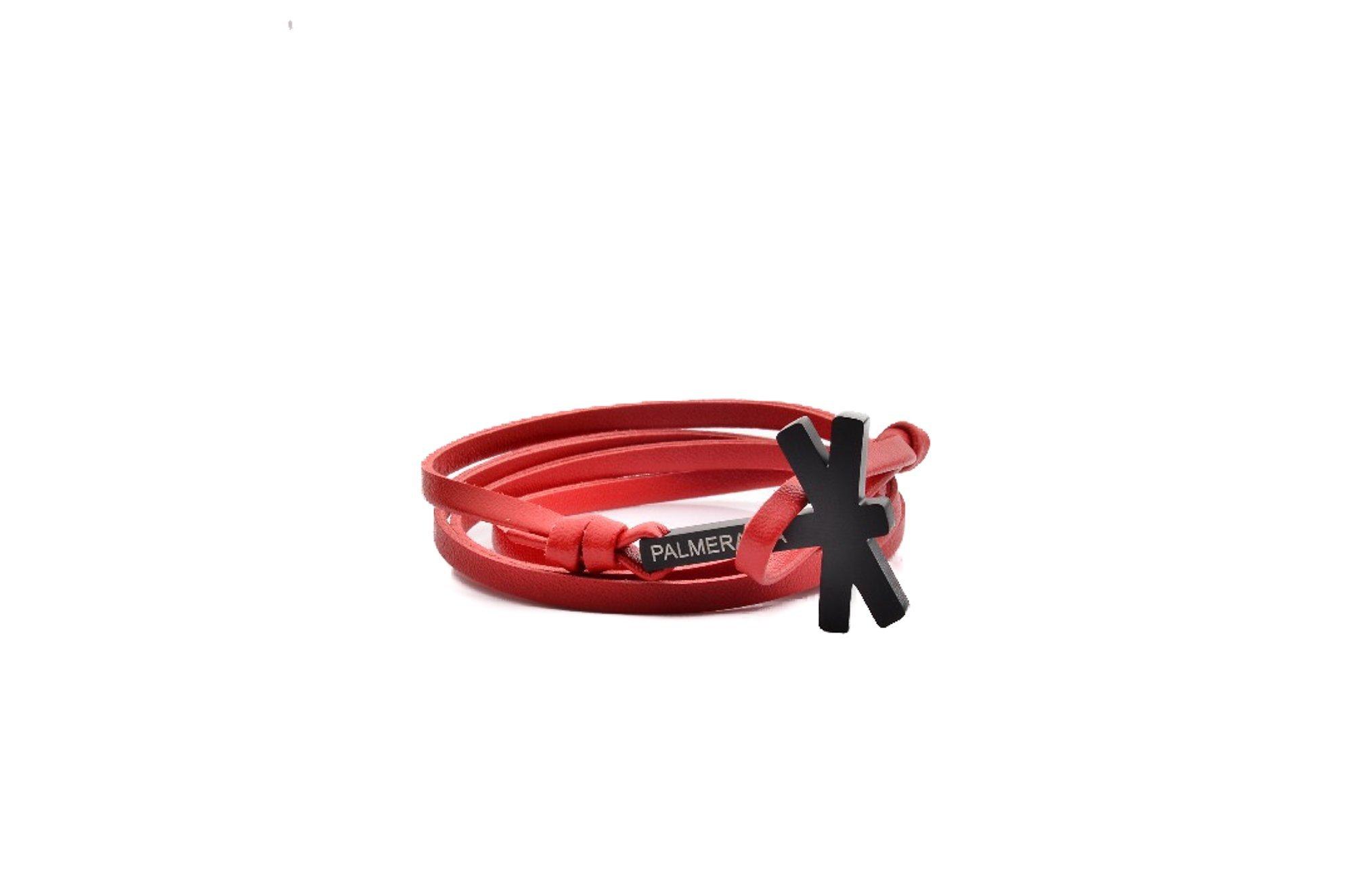 Palmeramia Men's Leather Hook Bracelet/Black One Size Red