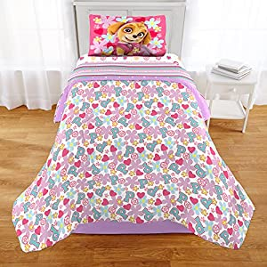 2 Piece Girls Kids Pink Purple Paw Patrol Comforter Twin/Full Set, Teal Blue Red Hearts Dog Themed Bedding Pups Pals Skye Marshall Chase Doggy Characters Puppy Firefighter Police Flowers, Polyester