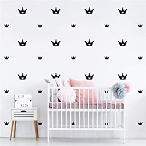 46pcs Crown Wall Decals Princess Room Decor Easy Paste Vinyl Wall Sticker for Kids Baby Girls Bedroom Decor,Nursery Wall Decor Stickers Black Wall Decor