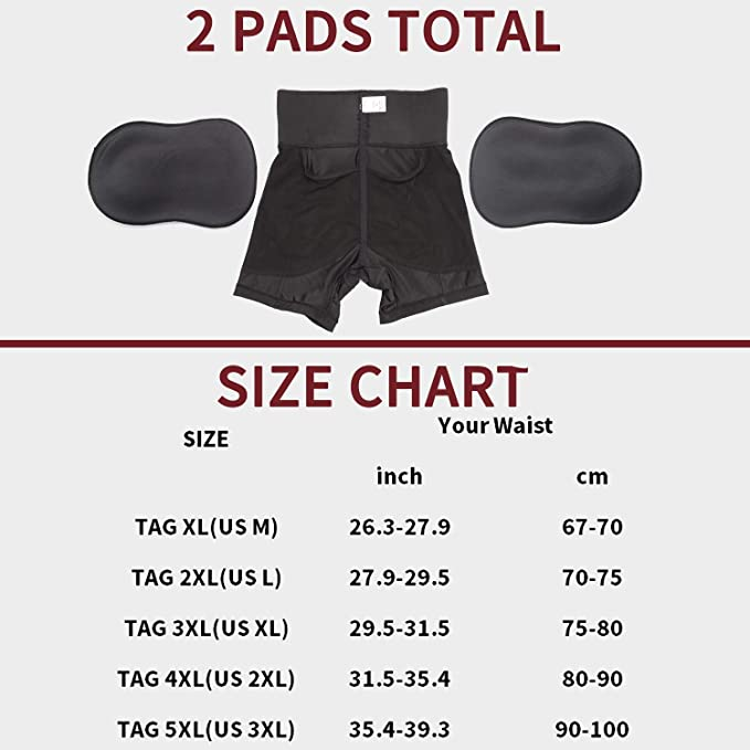 comfyhourglass padded butt lifter shorts size chart