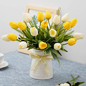 YILIYAJIA Artificial Tulips Flowers with Ceramics Vase Fake Tulip Bridal Bouquets Real Touch Flowers Arrangement for Home Table Wedding Office Decoration(Yellow&Beige)