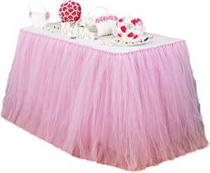 vLovelife 3.3ft Baby Pink Tutu Table Skirt Tulle Tableware TableCloth Table Cover For Baby Shower Birthday Wedding Decoration Favor