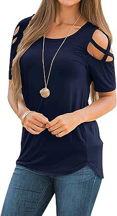 Camisetas Oversize Mujer Camiseta Chica Camisas Manga Corta Mujer Blusas Anchas Verano Playeras Asimetricas Anchas Señora Top Basica Blusa Tops Camisa Remeras Blusones Elegantes Bonitas: Amazon.es: Ropa y accesorios
