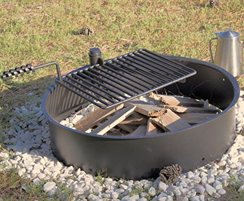Cheap 32″ Steel Fire Ring with Cooking Grate Campfire Pit Park Grill BBQ Camping Trail