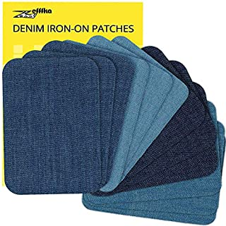 """ZEFFFKA Premium Quality Denim Iron-on or Sewing Jean Patches No-Sew Shades of Blue 12 Pieces Assorted Cotton Jeans Repair Kit 3"""" by 4-1/4"""""""
