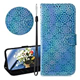 YiCTe Case for Samsung Galaxy Note 9,Luxury Blue Glitter Bling PU Leather Sparkle Flip Wallet Cover Bookstyle Stand Function Magnetic Case with Card Slot Strap for Samsung Galaxy Note 9