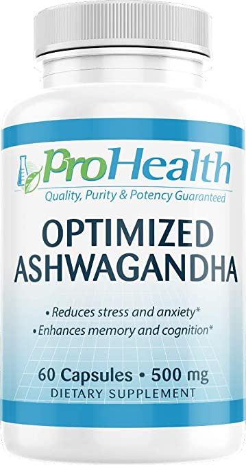 ProHealth Optimized Ashwagandha KSM-66 (500 mg, 60 Capsules) | Ashwagandha  Root Supplement |