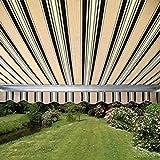ALEKO Retractable Patio Awning 12ft x 10ft (3.65m x 3m) Multistripe Green