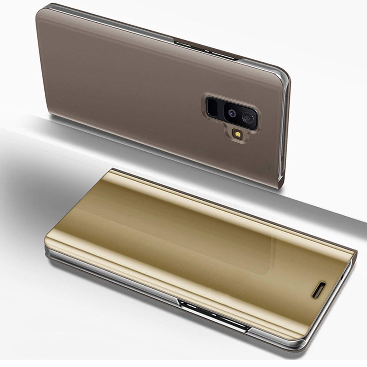 Herbests Compatible with Samsung Galaxy A6 Plus 2018 Case Mirror Makeup Translucent View Window Flip Wallet Case Luxury Electroplate Plating Kickstand Case 360 Full Body Shockproof Cover,Gold by Herbests