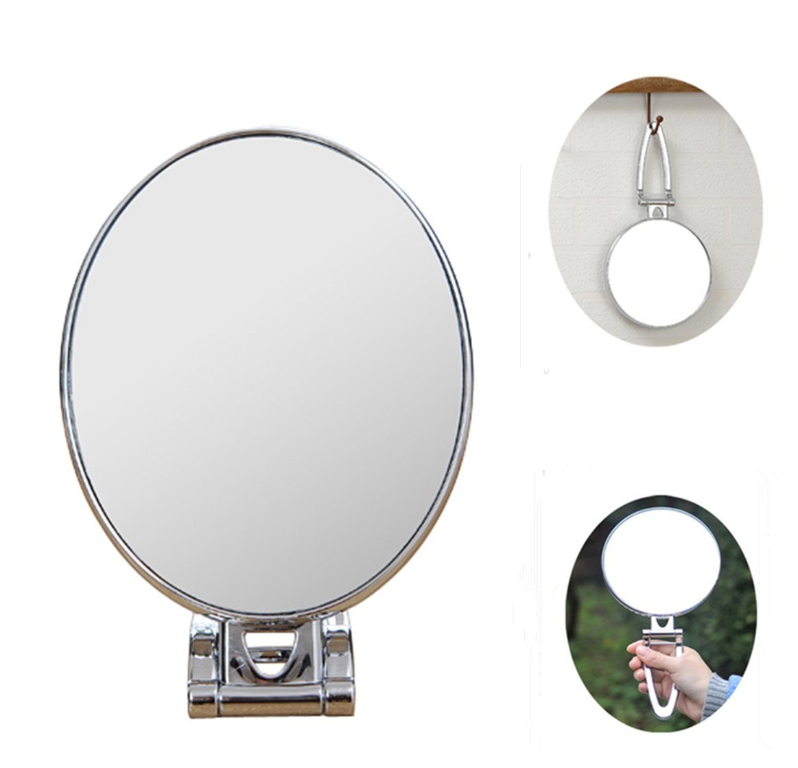 3-in-1 Makeup Mirror Doubled Sided Vanity Mirror with 3X Magnified 180 Degrees Folding Handle Travel Mirror Desktop Mirror (Oval) Kayla_Lan