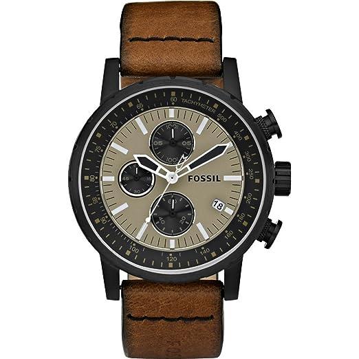 Fósil de hombre piel marrón y negro reloj cronógrafo - ch2738: Amazon.es: Relojes