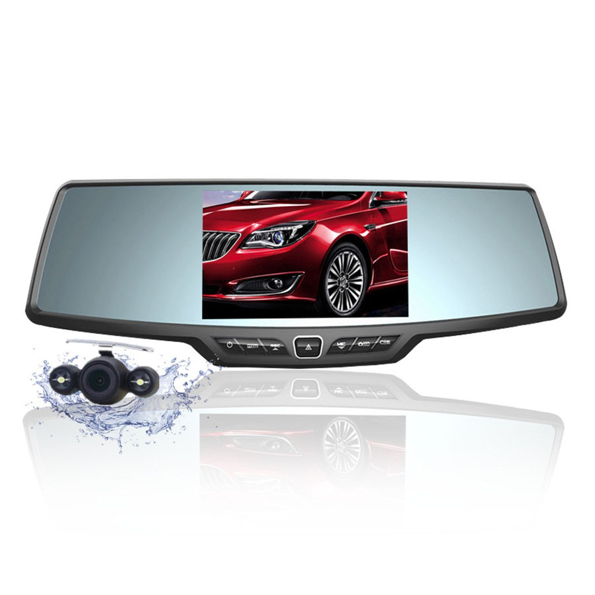 Dash Cam,4.3'' Full HD 1080P Rearview Mirror Dual Lens Video Recorder Car DVR 170 Degree Wide Angle, Loop Recording,G-Sensor,Parking Monitor,Reverse Image