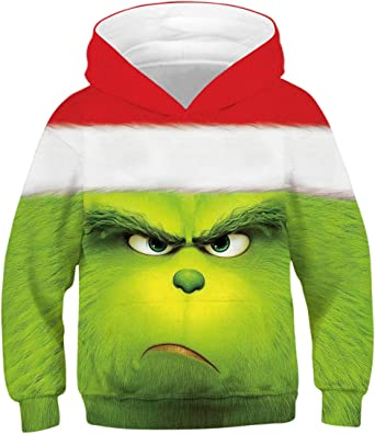 Xmas The Grinch Hoodie Kids Boy Sweatshirt Hooded Coat Jacket Christmas Costume