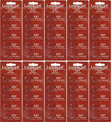 LOOPACELL 337 (SR416SW) 1.55V Silver Oxide Watch Battery (50 Batteries)
