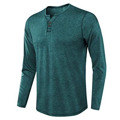 WINJUD Men's T-Shirt Long Sleeve Crewneck Henley Shirt Slim Fit Button Fall Winter Casual Tops at Men's Clothing store