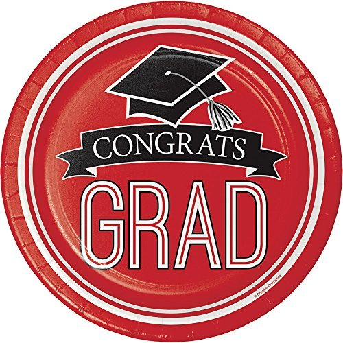 Creative Converting Congrats Grad Red Dessert Plates Party Supplies, Multicolor