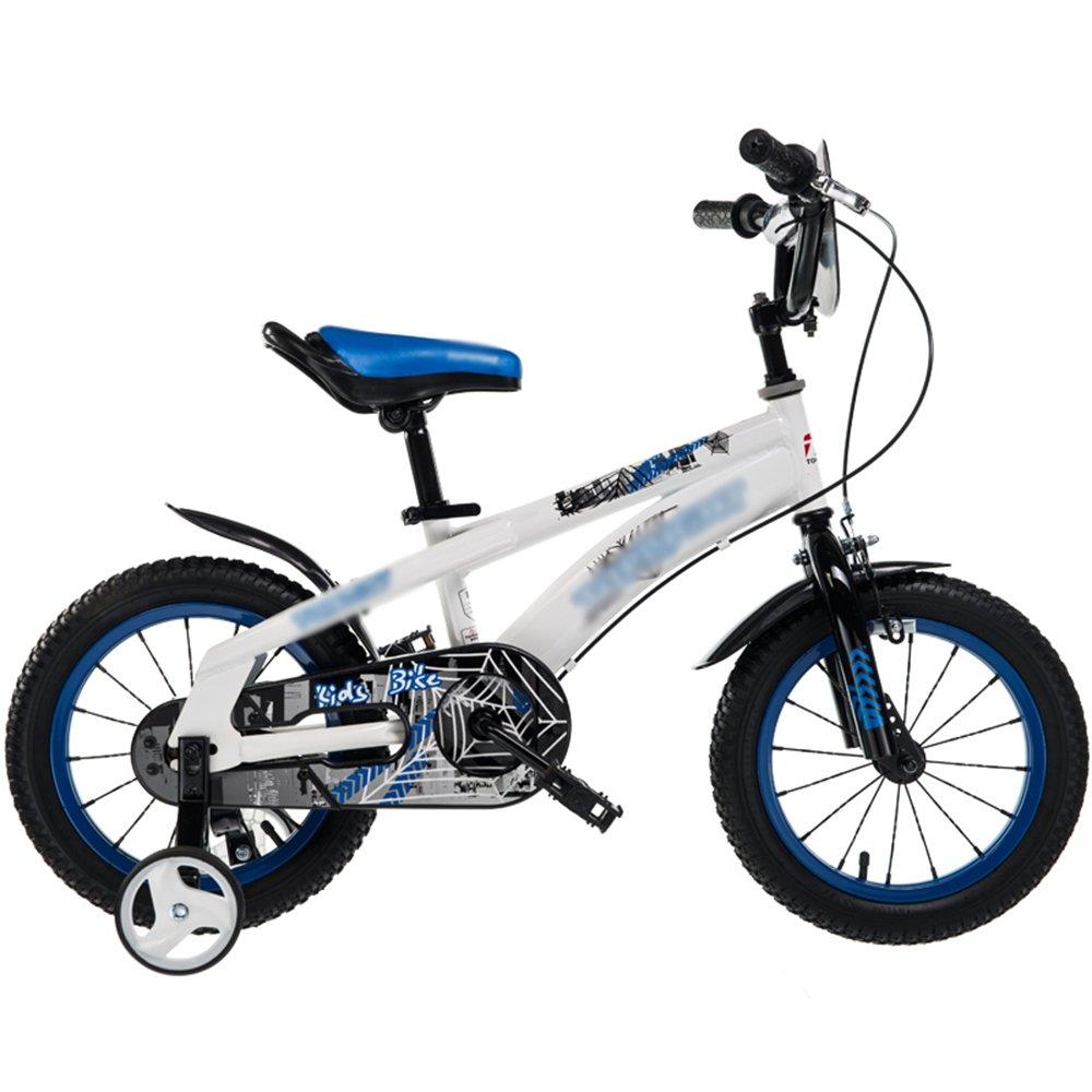 YANGFEI 子ども用自転車 子供用自転車ベビーキャリッジ12/14/16/18インチマウンテンバイクハイカーボンスチール素材ブルーシルバーレッドイエロー 212歳 B07HJ94KJC  青 18 inch