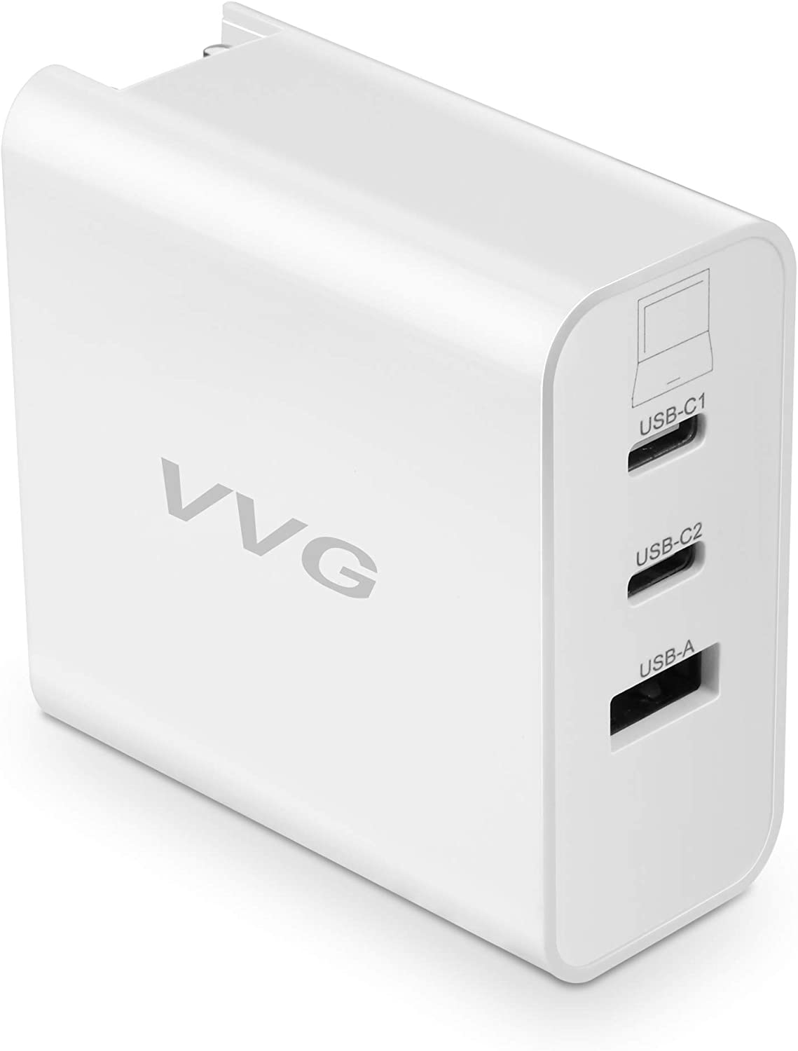 USB Type-C Wall Fast Charger,65W PD Charger,USB C Power Adapter,Foldable Plug,3-Port USB C Quick Charger Compatible with Phone SE,Laptops,Galaxy via USB-C(White)