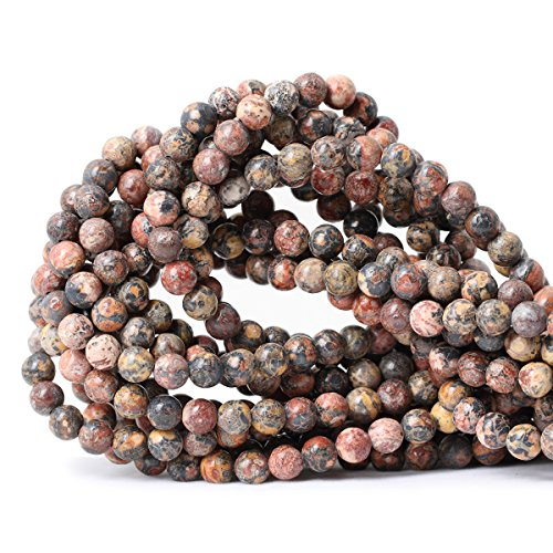 Qiwan 60PCS 6mm Natural leopard print Jasper Gemstone Round Loose Beads for Jewelry Making 1 Strand 15