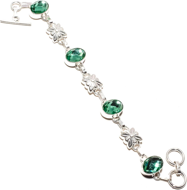 jewels paradise SF-1182 - Pulsera de Plata de Ley 925 con Piedras Preciosas de topacio Verde místico facetadas, Ajustable, Flexible
