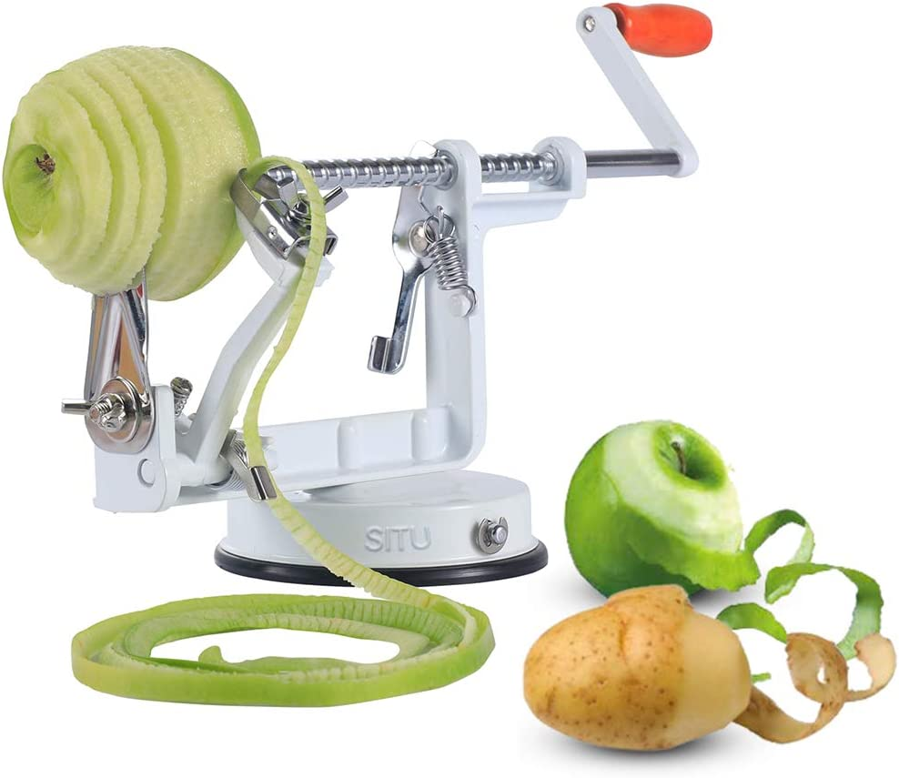 Apple Peeler, Apple Peeler Slicer Corer 3 in 1 Slinky Machine Durable Heavy Duty Die Apple Peelers With Suction base