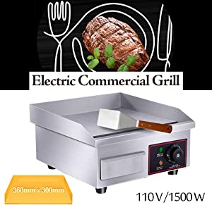 Electric Countertop Griddle Grill,110V Stainless Steel Griddle Flat Commercial Heavyduty Grill Hot Plate Adjustable Temperature Control Restaurant Equipment for Kitchen Restaurant 14'' USA Stock