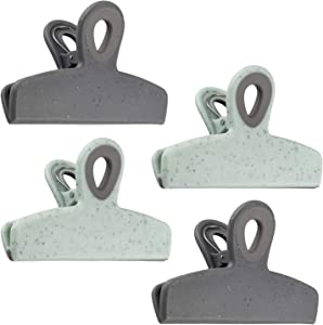 Cook with Color Bag Clips, 4 Large Heavy Duty Chip Clips for Food Storage with Air Tight Seal Grip for Snack Bags and Food Bags, Jumbo Food Clips (Speckled Gray & Teal)