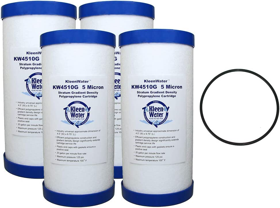 KleenWater KW4510G Dirt Rust Sediment Filter Multi-Pack, Whole House Water Filter Replacement Cartridge, Set of 4, PWFRG357 O-Ring, Qty 1