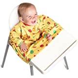 Weaning Bib - BIBaDO (Yellow) - The Award Winning Coverall Smock, Attaches to Your highchair, Ideal for BLW Mess, Long Sleeves, Waterproof & Stain Resistant …