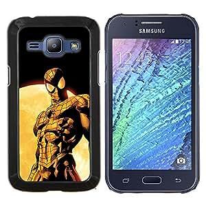 Oldschool vintage araña Superhéroe- Metal de aluminio y de plástico duro Caja del teléfono - Negro - Samsung Galaxy J1 / J100