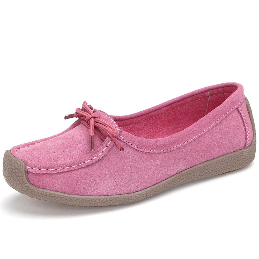 Women's Loafers Nubuck Leather Snail Shoes Casual Flats Lace Up Fashion Sneakers Walking Shoes Pink