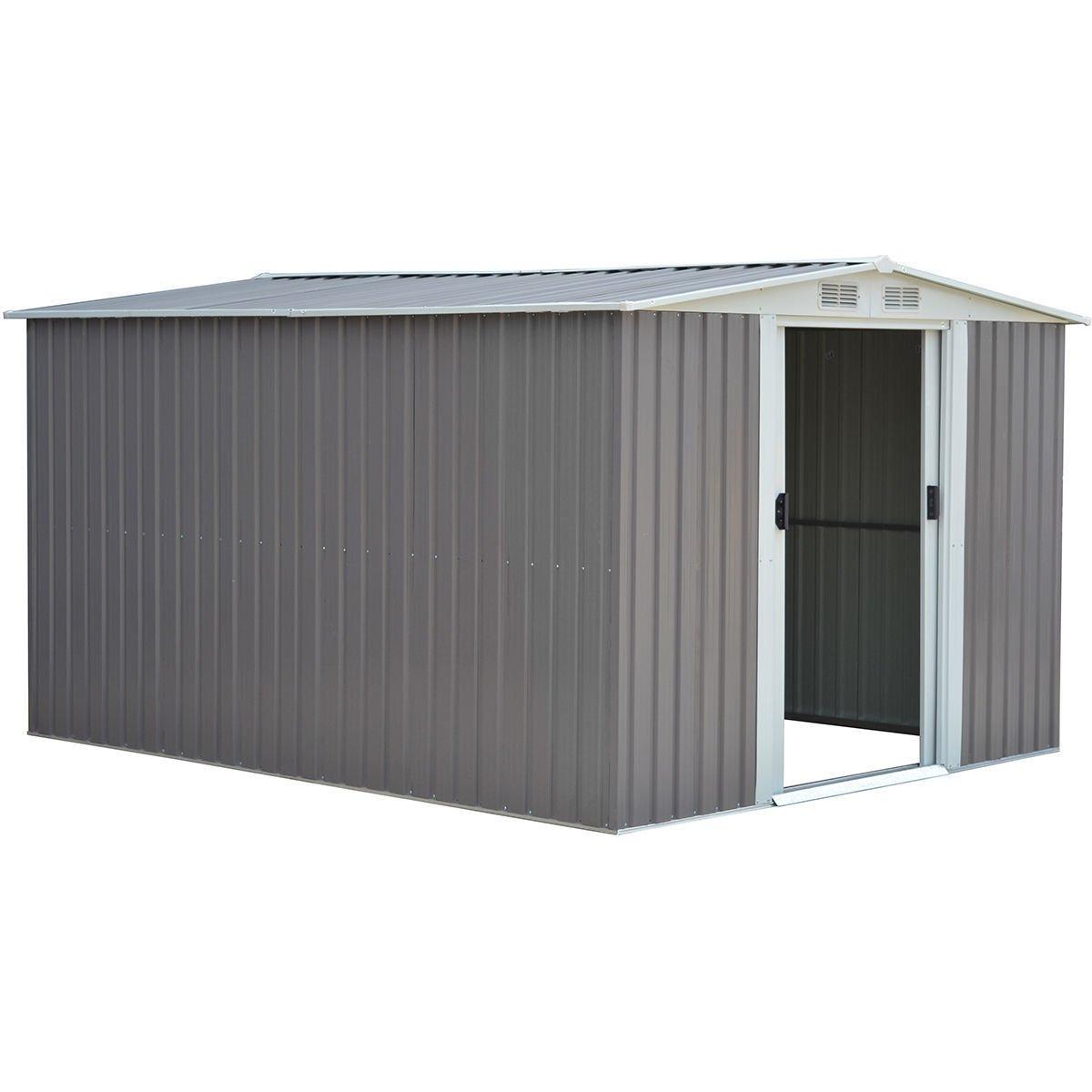 New 10 x 8FT Garden Storage Shed Tool House Sliding Door Galvanized Steel Gray
