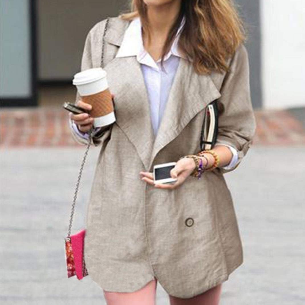Clearance❤️Women Coat, NEARTIME Women Autumn Casual Cotton Tops Long-sleeved Casual Jacket V-Neck Button Windbreaker