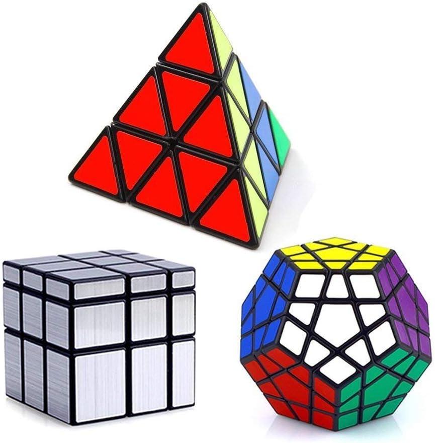 Vdealen - Juego de 3 Cubos mágicos de la colección de velocidades, Paquete de Pyraminx, Megaminx, Espejo 3 x 3 x 3, Juego de Rompecabezas, Color Plateado