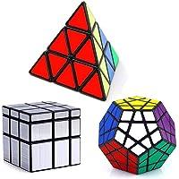 Vdealen Noir Magic Dodecahedron Megaminx + 3x3x3 Pyramid Cube+ 3x3 Argent Miroir Puzzle Cube