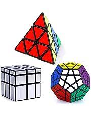 Vdealen Set of 3 Speed Collection Magic Cube Puzzle Bundle Pack-Pyraminx, Megaminx, Silver Mirror 3x3x3, Set