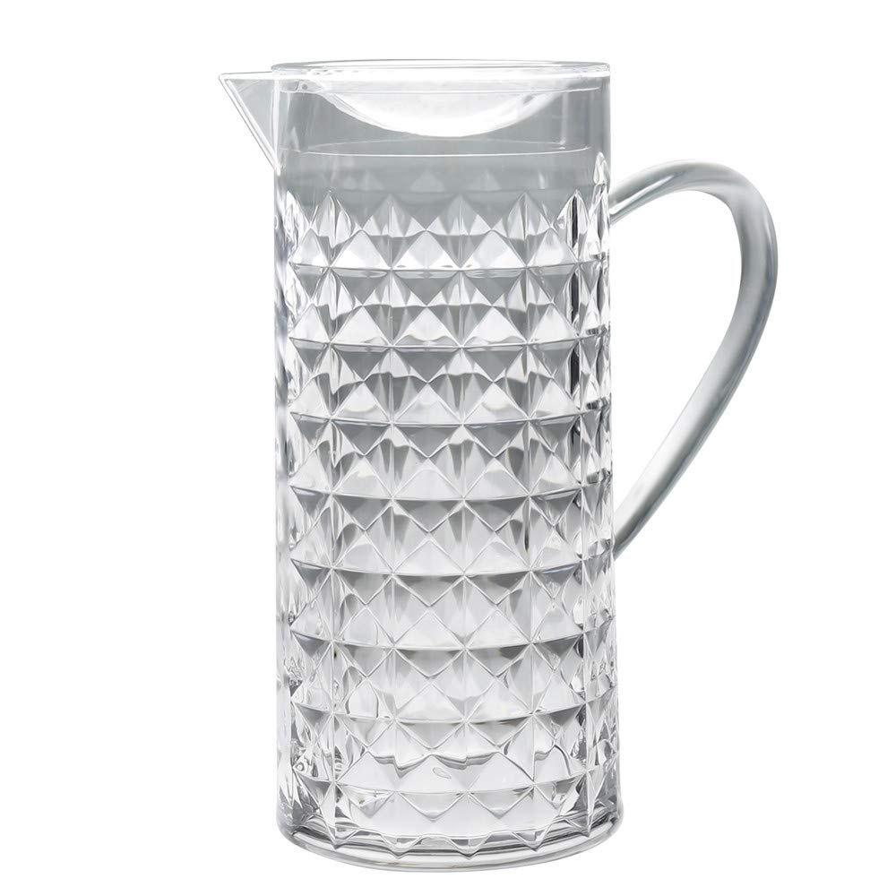 Bekmore Acrylic Plastic Water Pitcher with Lid, BPA Free, Great for Iced Tea, Water and Juice, 52 Ounce Clear