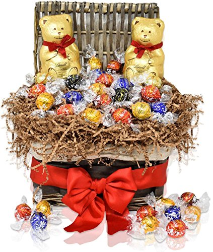 Christmas Gift Basket - 2 LINDT Teddy Bears 7 oz with 20 Lindt Assorted Chocolate Truffles